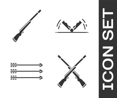 Set Two crossed shotguns, Hunting gun, Hipster arrows and Trap hunting icon. Vector