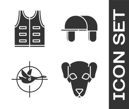 Set Hunting dog, Hunting jacket, Hunt on duck with crosshairs and Hunter hat icon. Vector Ilustrace