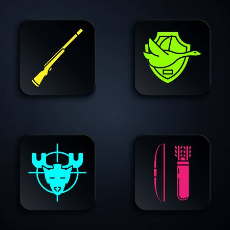 Set Bow and arrow in quiver, Hunting gun, Hunt on moose with crosshairs and Flying duck on shield. Black square button. Vector