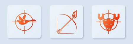 Set Bow and fire arrow, Hunt on duck with crosshairs and Hunt on moose with crosshairs. White square button. Vector