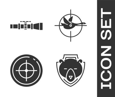Set Bear head on shield, Sniper optical sight, Target sport for shooting competition and Hunt on duck with crosshairs icon. Vector