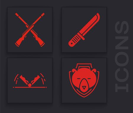 Set Bear head on shield, Two crossed shotguns, Hunter knife and Trap hunting icon. Vector