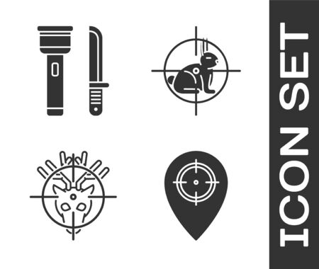 Set Hunt place, Flashlight and knife, Hunt on deer with crosshairs and Hunt on rabbit with crosshairs icon. Vector