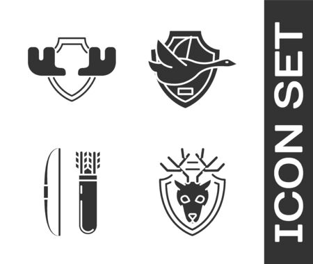 Set Deer head with antlers on shield, Moose horns on shield, Bow and arrow in quiver and Flying duck on shield icon. Vector Ilustrace