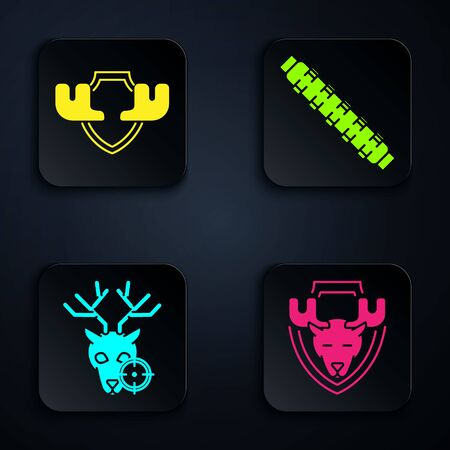 Set Moose head on shield, Moose horns on shield, Hunt on deer with crosshairs and Hunting cartridge belt with cartridges. Black square button. Vector