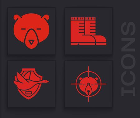 Set Hunt on bear with crosshairs, Bear head, Hunter boots and Flying duck on shield icon. Vector Ilustrace