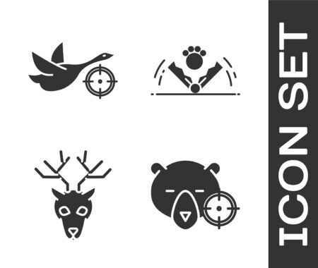 Set Hunt on bear with crosshairs, Hunt on duck with crosshairs, Deer head with antlers and Trap hunting icon. Vector Ilustrace