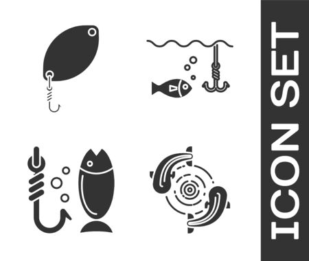 Set Fish, Fishing spoon, Fishing and Fishing hook under water with fish icon. Vector
