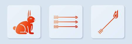 Set Hipster arrows, Rabbit and Flame arrow. White square button. Vector Zdjęcie Seryjne - 138003704