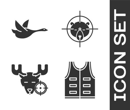 Set Hunting jacket, Flying duck, Hunt on moose with crosshairs and Hunt on bear with crosshairs icon. Vector
