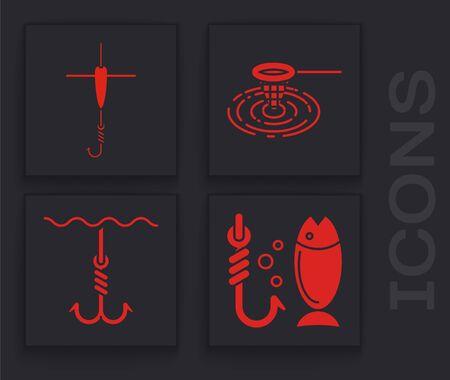 Set Fishing, Fishing hook and float, Fishing net in water and Fishing hook under water icon. Vector