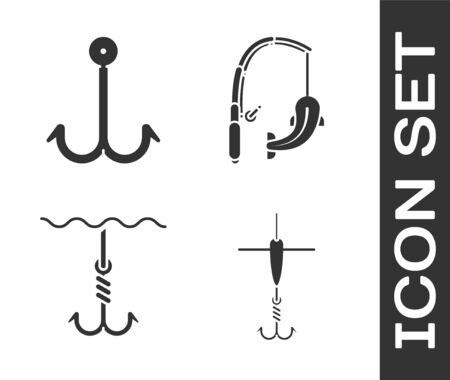 Set Fishing hook and float, Fishing hook, Fishing hook under water and Fishing rod and fish icon. Vector