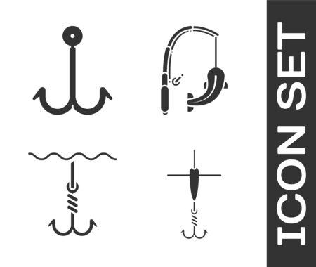 Set Fishing hook and float, Fishing hook, Fishing hook under water and Fishing rod and fish icon. Vector