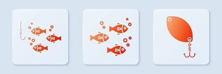 Set Fish, Fishing hook under water with fish and Fishing spoon. White square button. Vector