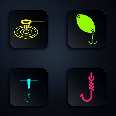 Set Fishing hook, Fishing net in water, Fishing hook and float and Fishing spoon. Black square button. Vector