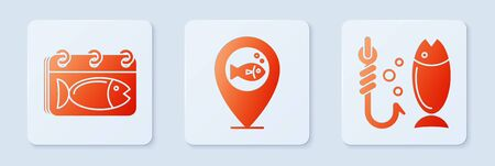 Set Location fishing, Calendar with a fish and Fishing. White square button. Vector