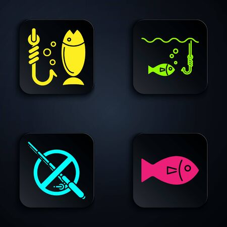 Set Fish, Fishing, No fishing and Fishing hook under water with fish. Black square button. Vector