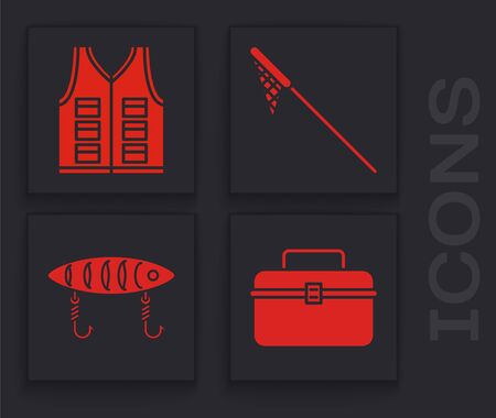 Set Case or box container for wobbler and gear fishing equipment, Fishing jacket, Fishing net and Fishing lure icon. Vector