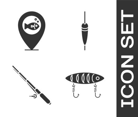 Set Fishing lure, Location fishing, Fishing rod and Fishing float icon. Vector