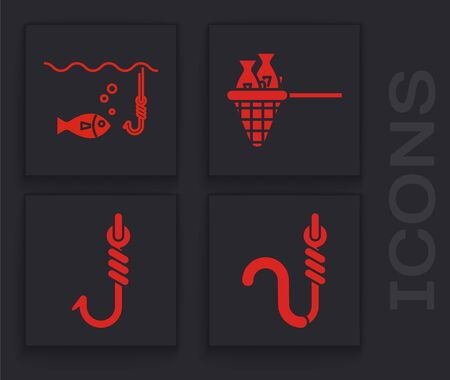 Set Fishing hook and worm, Fishing hook under water with fish, Fishing net with fish and Fishing hook icon. Vector