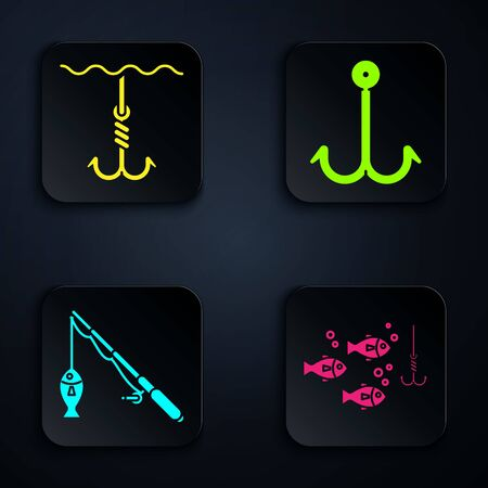 Set Fishing hook under water with fish, Fishing hook under water, Fishing rod and fish and Fishing hook. Black square button. Vector
