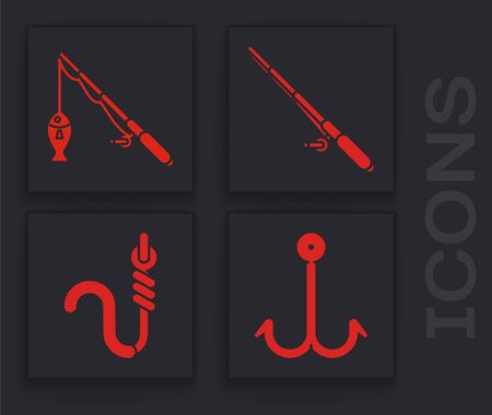 Set Fishing hook, Fishing rod and fish, Fishing rod and Fishing hook and worm icon. Vector Vettoriali