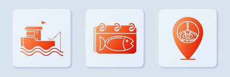 Set Calendar with a fish, Fishing boat with fishing rod on water and Location fishing. White square button. Vector Ilustração