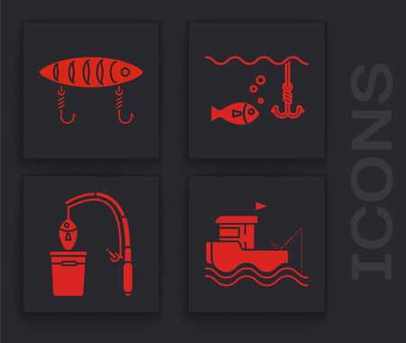 Set Fishing boat with fishing rod on water, Fishing lure, Fishing hook under water with fish icon. Vector 일러스트