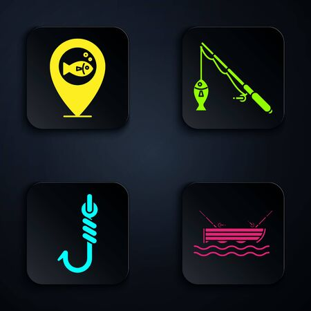 Set Fishing boat with fishing rod on water, Location fishing, Fishing hook and rod and fish. Black square button. Vector