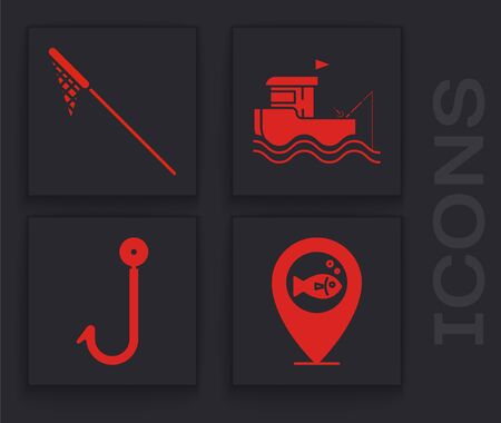 Set Location fishing, Fishing net, Fishing boat with rod on water and Fishing hook icon. Vector