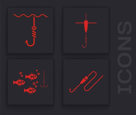 Set Fishing line with hook and float, Fishing hook under water, Fishing hook and float and Fishing hook under water with fish icon. Vector