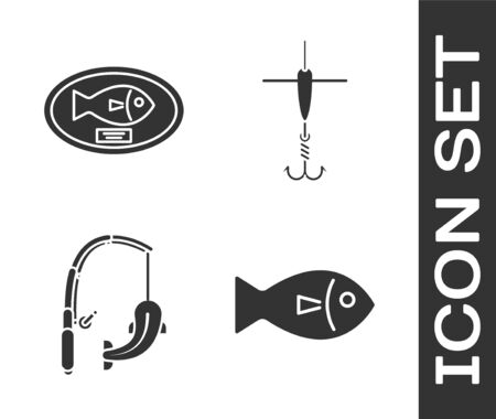 Set Fish, Fish trophy hanging on the board, Fishing rod and fish and Fishing hook and float icon. Vector Иллюстрация