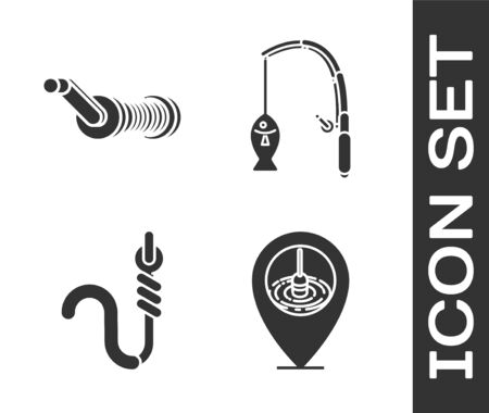 Set Location fishing, Spinning reel for fishing, Fishing hook and worm and Fishing rod and fish icon. Vector