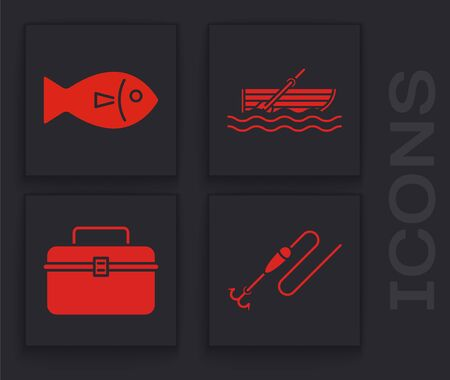 Set Fishing line with hook and float, Fish, Fishing boat with oars on water and Case or box container for wobbler and gear fishing equipment icon. Vector