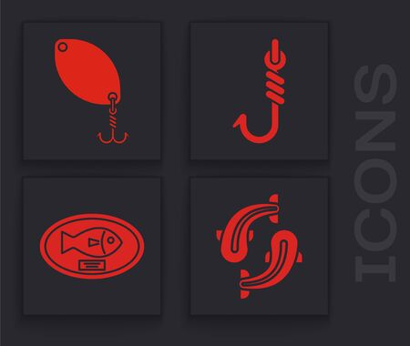 Set Fish, Fishing spoon, Fishing hook and Fish trophy hanging on the board icon. Vector