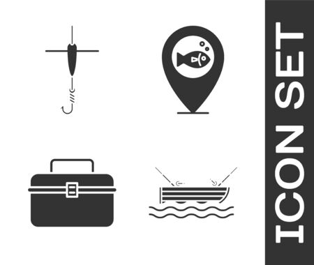 Set Boat with fishing rod on water, Fishing hook and float, Case or box container for wobbler and gear fishing equipment and Location fishing icon. Vector