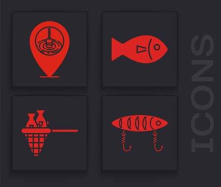 Set Fishing lure, Location fishing, Fish and Fishing net with fish icon. Vector Vettoriali