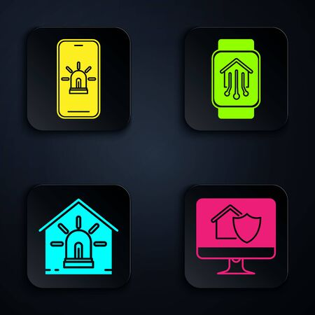 Set Computer monitor with house under protection, Mobile phone with smart house and alarm, Smart house and alarm and Smart home with smart watch. Black square button. Vector