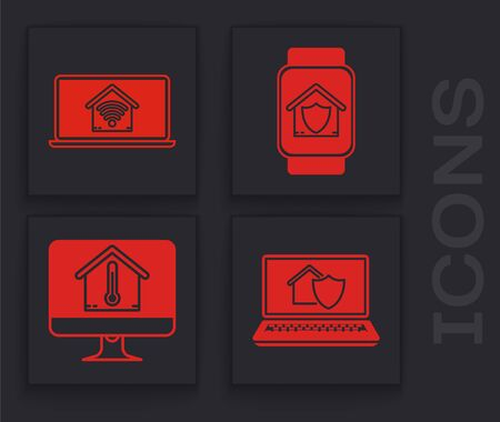 Set Laptop with house under protection, Laptop with smart home with wifi, Smart watch with house under protection and Computer monitor with house temperature icon. Vector