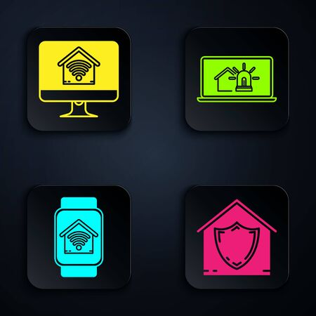 Set House under protection, Computer monitor with smart home with wi-fi, Smart watch with smart home with wi-fi and Laptop with smart house and alarm. Black square button. Vector