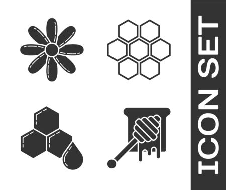Set Honey dipper stick with dripping honey, Flower, Honeycomb and Honeycomb icon. Vector