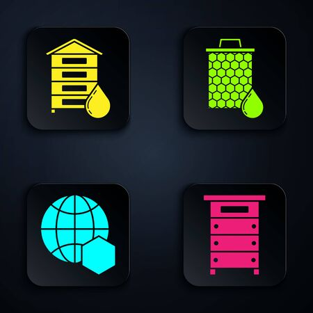 Set Hive for bees, Hive for bees, Honeycomb map of the world and Honeycomb. Black square button. Vector Çizim