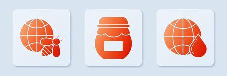Set Jar of honey, Honeycomb map of the world and bee and Honeycomb map of the world. White square button. Vector Çizim