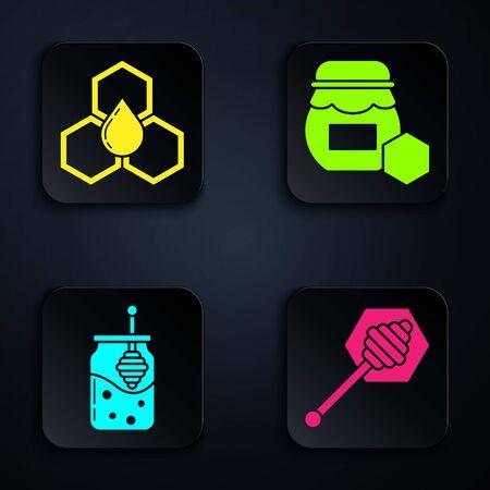 Set Honey dipper stick, Honeycomb, Jar of honey and honey dipper stick and Jar of honey. Black square button. Vector