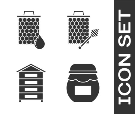 Set Jar of honey, Honeycomb, Hive for bees and Honeycomb with honey dipper stickicon icon. Vector Ilustração