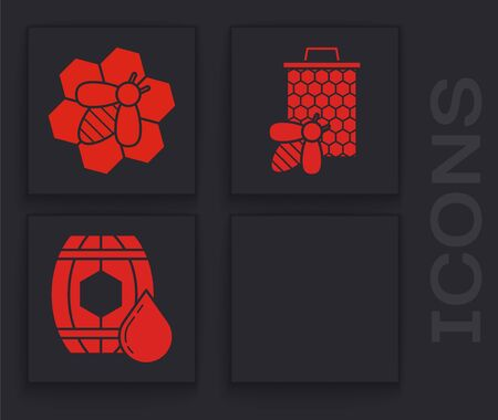 Set Hive for bees, Bee and honeycomb, Bee and honeycomb and Wooden barrel with honey icon. Vector
