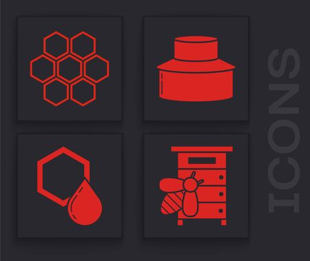 Set Hive for bees, Honeycomb, Beekeeper with protect hat and Honeycomb icon. Vector