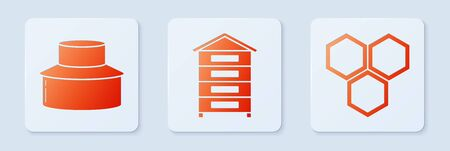 Set Hive for bees, Beekeeper with protect hat and Honeycomb. White square button. Vector