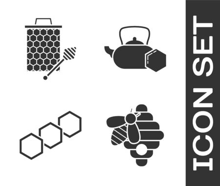 Set Hive for bees, Honeycomb with honey dipper stickicon, Honeycomb and Tea kettle with honey icon. Vector