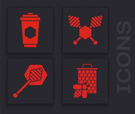 Set Bee and honeycomb, Cup of tea with honey, Honey dipper stick and Honey dipper stick icon. Vector